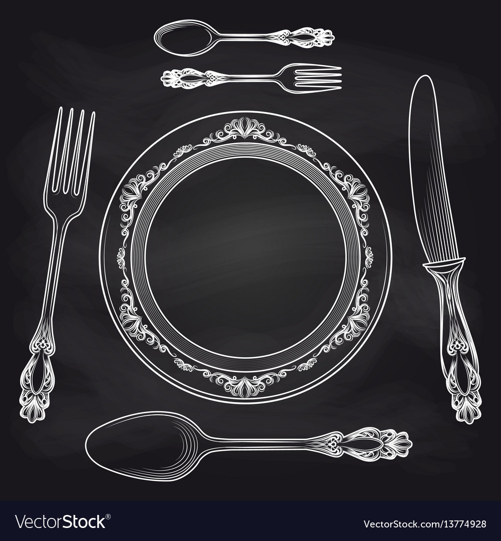 Kitchen blackboard poster with cutlery sketch vector image