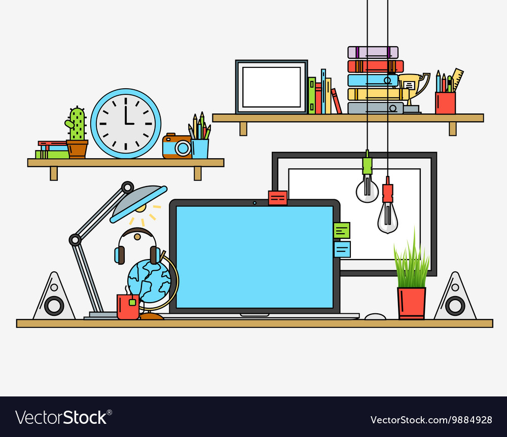 Modern workplace Creative office vector image