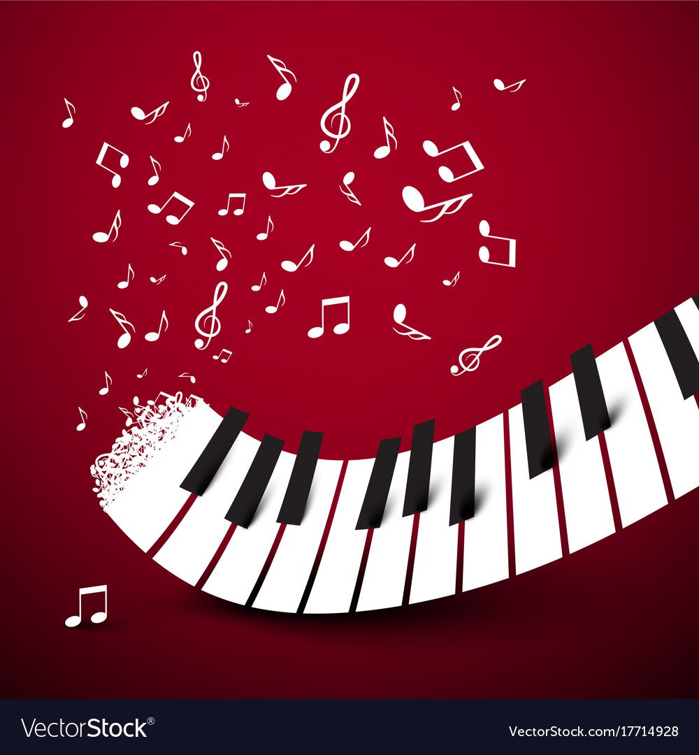 Piano keys keyboard with notes music symbol on vector image biocorpaavc Image collections