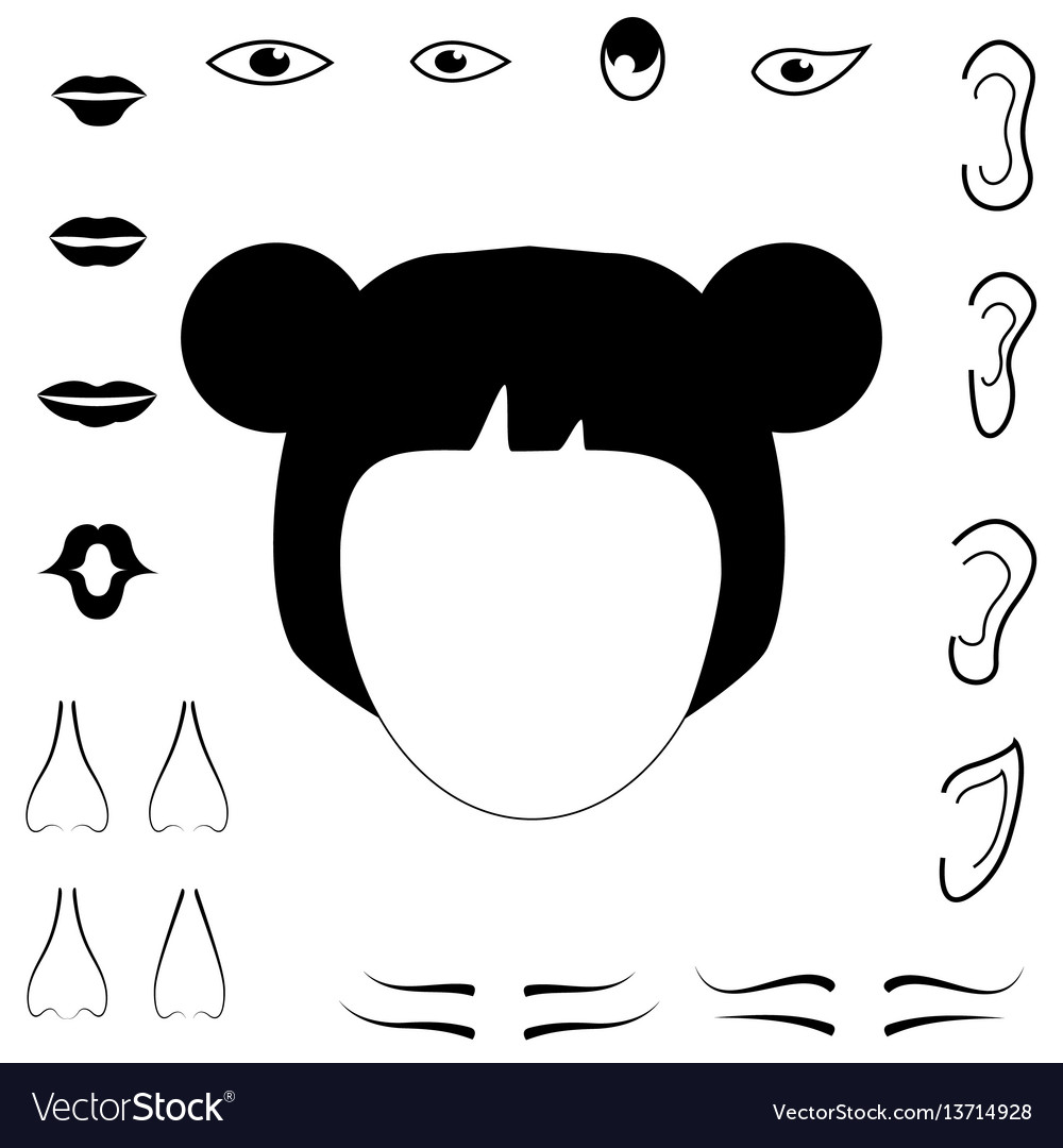 Woman face parts mouth hair nose ears eyebrows vector image