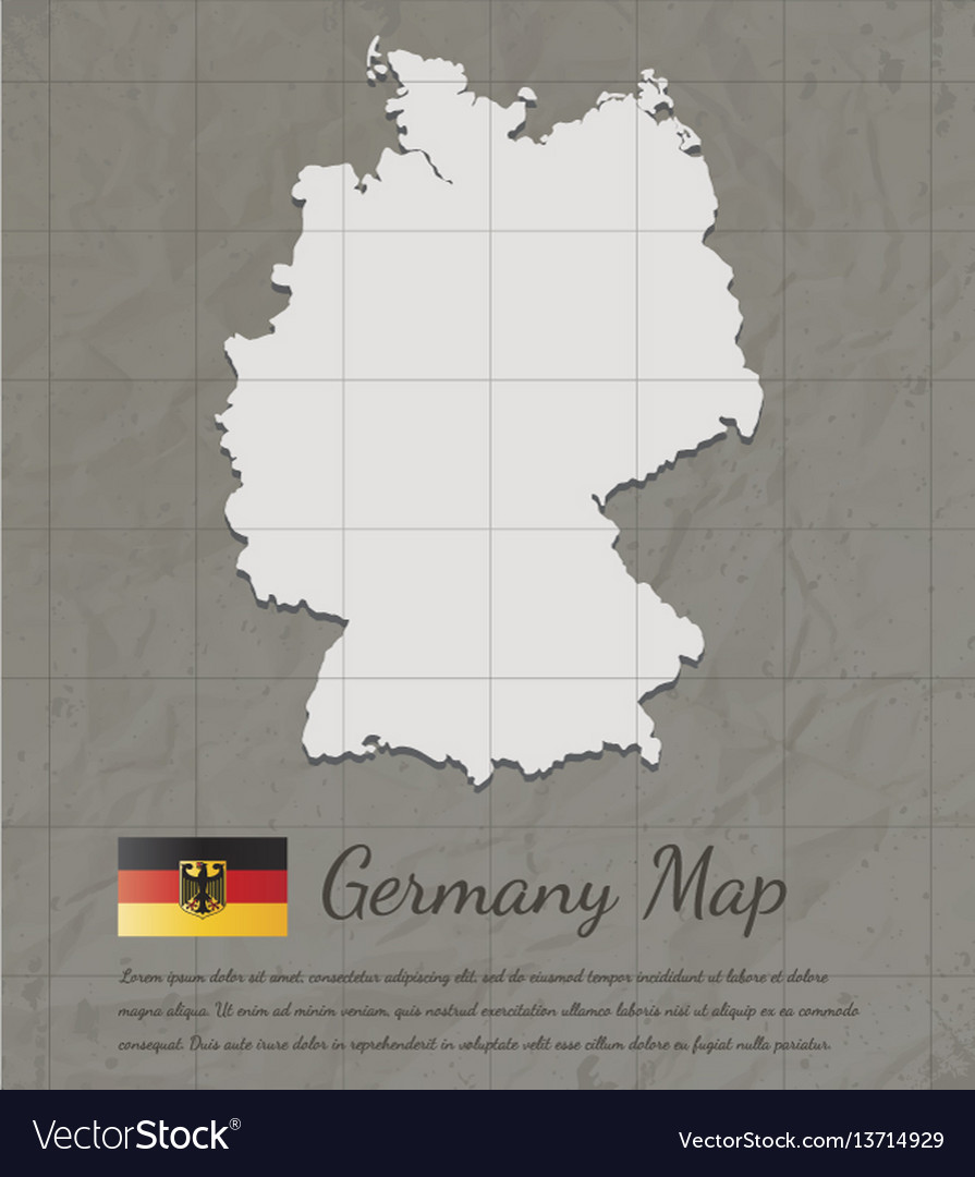 Vintage germany map paper card map silhouette vector image