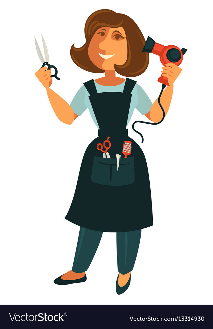 Female hairdresser with scissors and blow dryer vector image