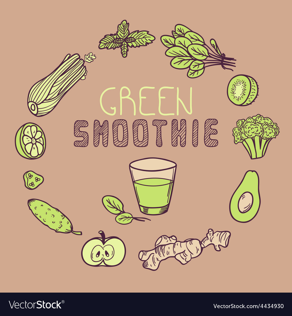Green smoothie Background with vegetable frame vector image