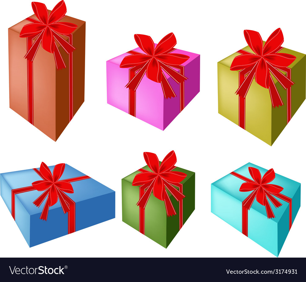 A Set of Beautiful Gift Boxes with Red Ribbon Vector Image