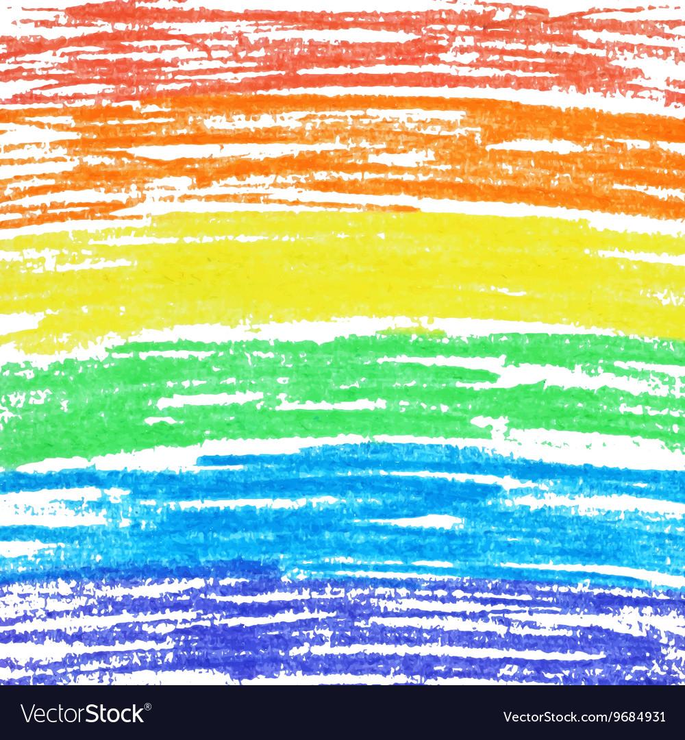 Crayon rainbow background vector image