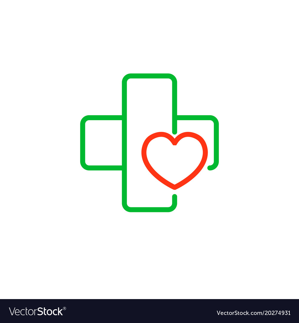 cross with a heart logo for the clinic royalty free vector