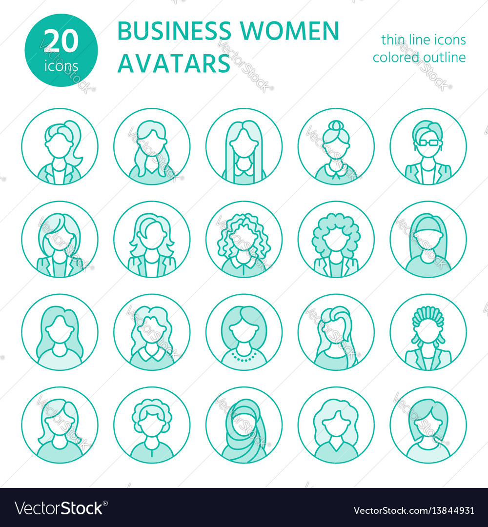 People line icons business woman avatars outline vector image
