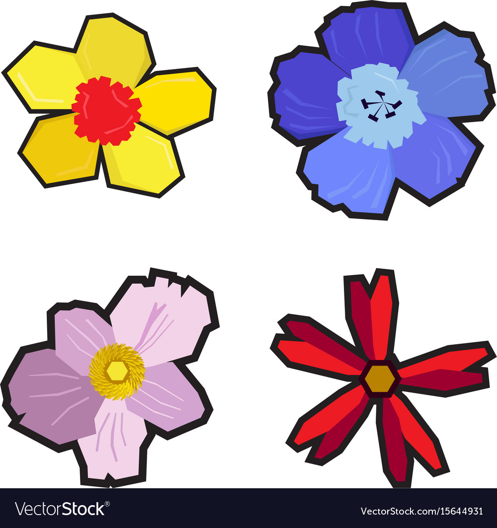 Set of geometric flowers vector image