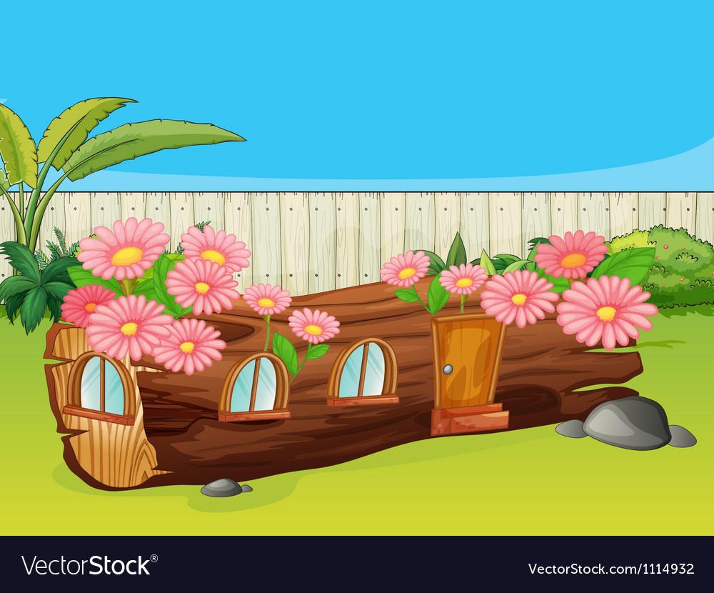 Flowering wood house Vector Image