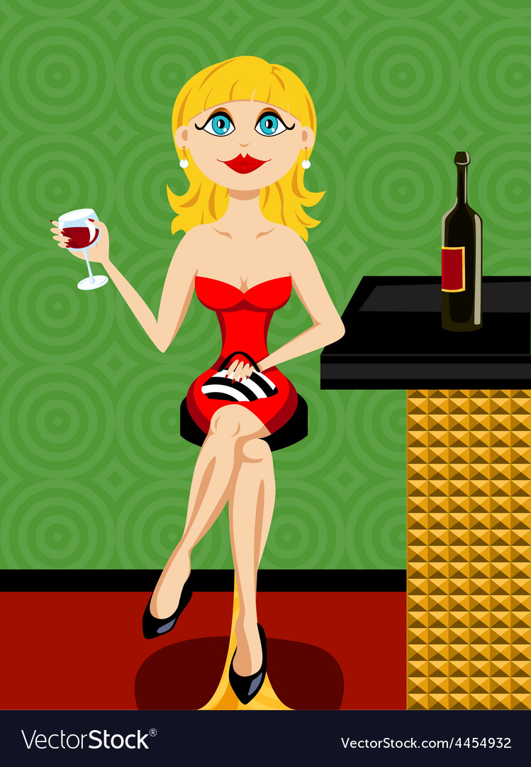 Beautiful blond woman at the bar drinking wine vector image