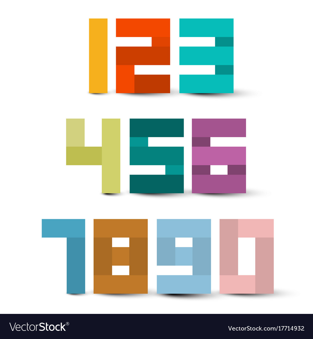 Colorful paper numbers set symbols isolated on vector image
