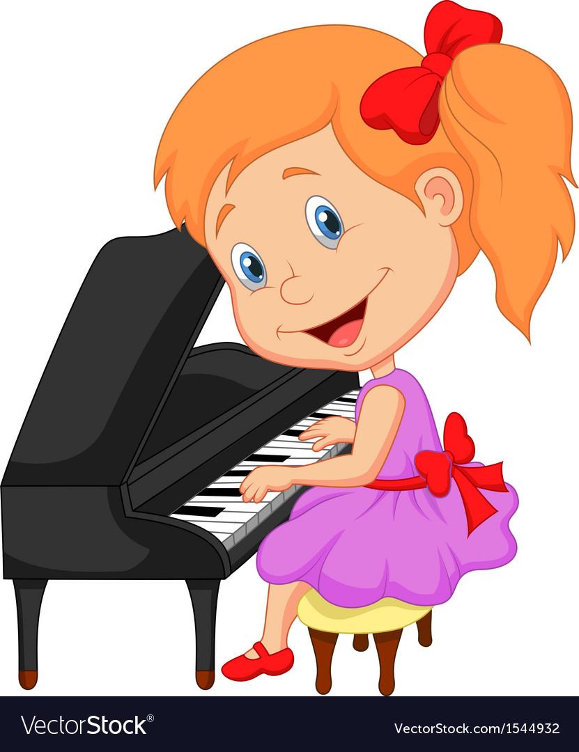 Cute little girl cartoon playing piano vector image