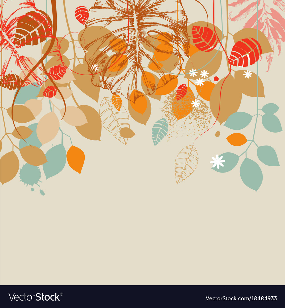 Fall leaves background vector image