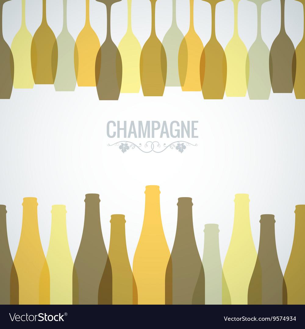 Champagne bottle glass design background vector image