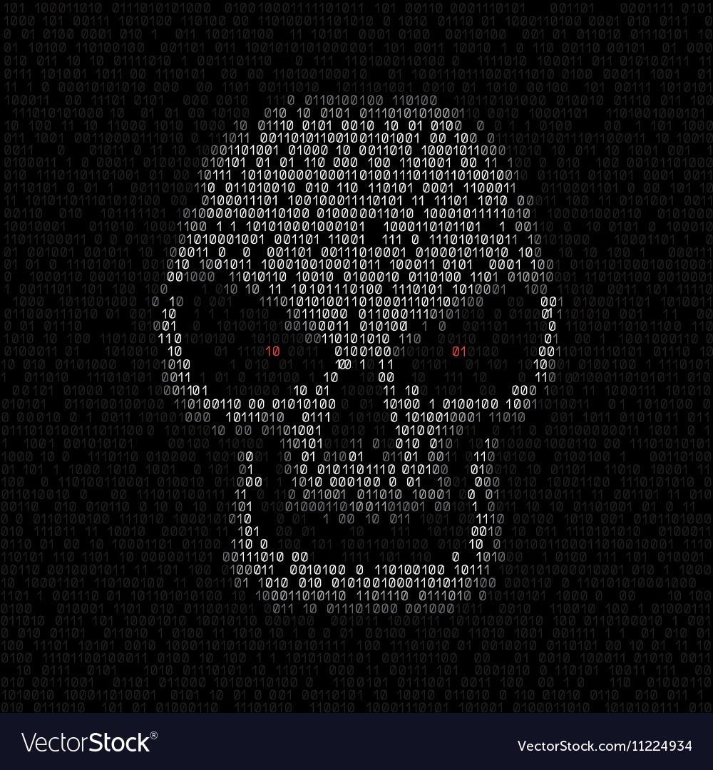 Code texture skull vector image