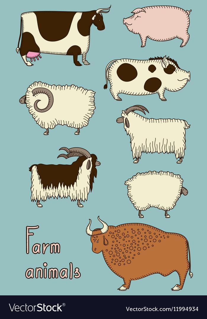 Set of 8 cute farm animals vector image