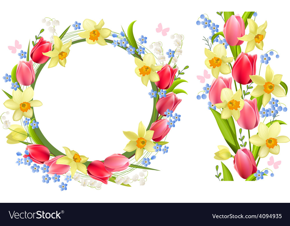 Frame and seamless border with spring flowers vector image mightylinksfo Gallery