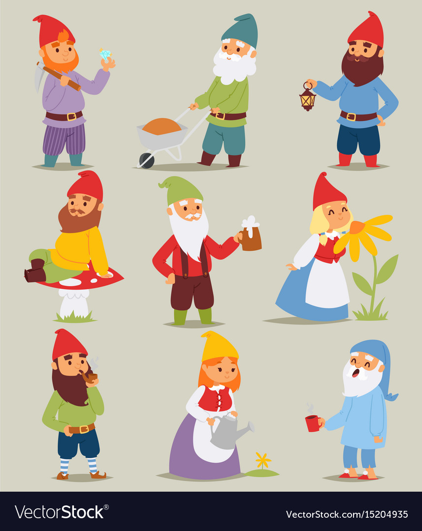 Gnome garden set funny little characters cute vector image
