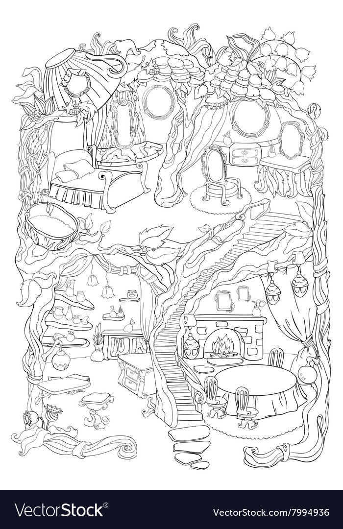 Colouring Page Of Fairy House Vector Image