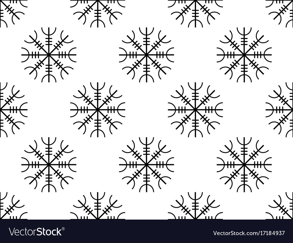 Galdrastafir seamless pattern ancient runes vector image