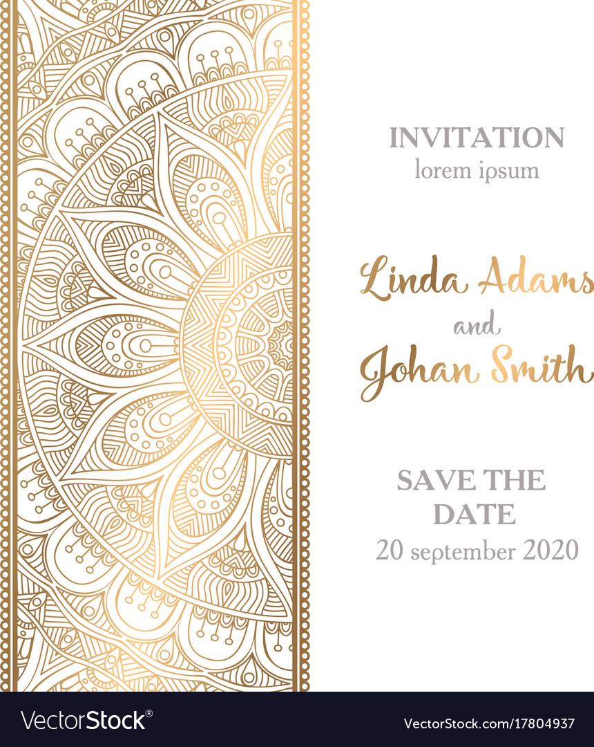 Luxury wedding invitation with mandala royalty free vector luxury wedding invitation with mandala vector image monicamarmolfo Gallery