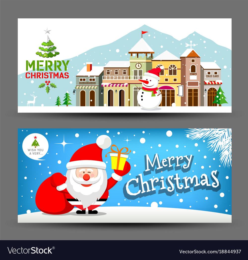 Merry christmas horizontal collection vector image