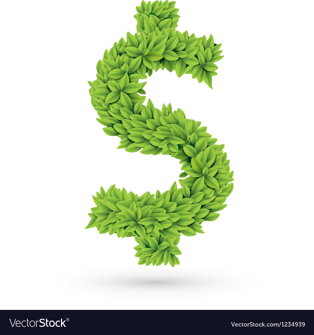 Dollar sign of green leaves with shadow vector image