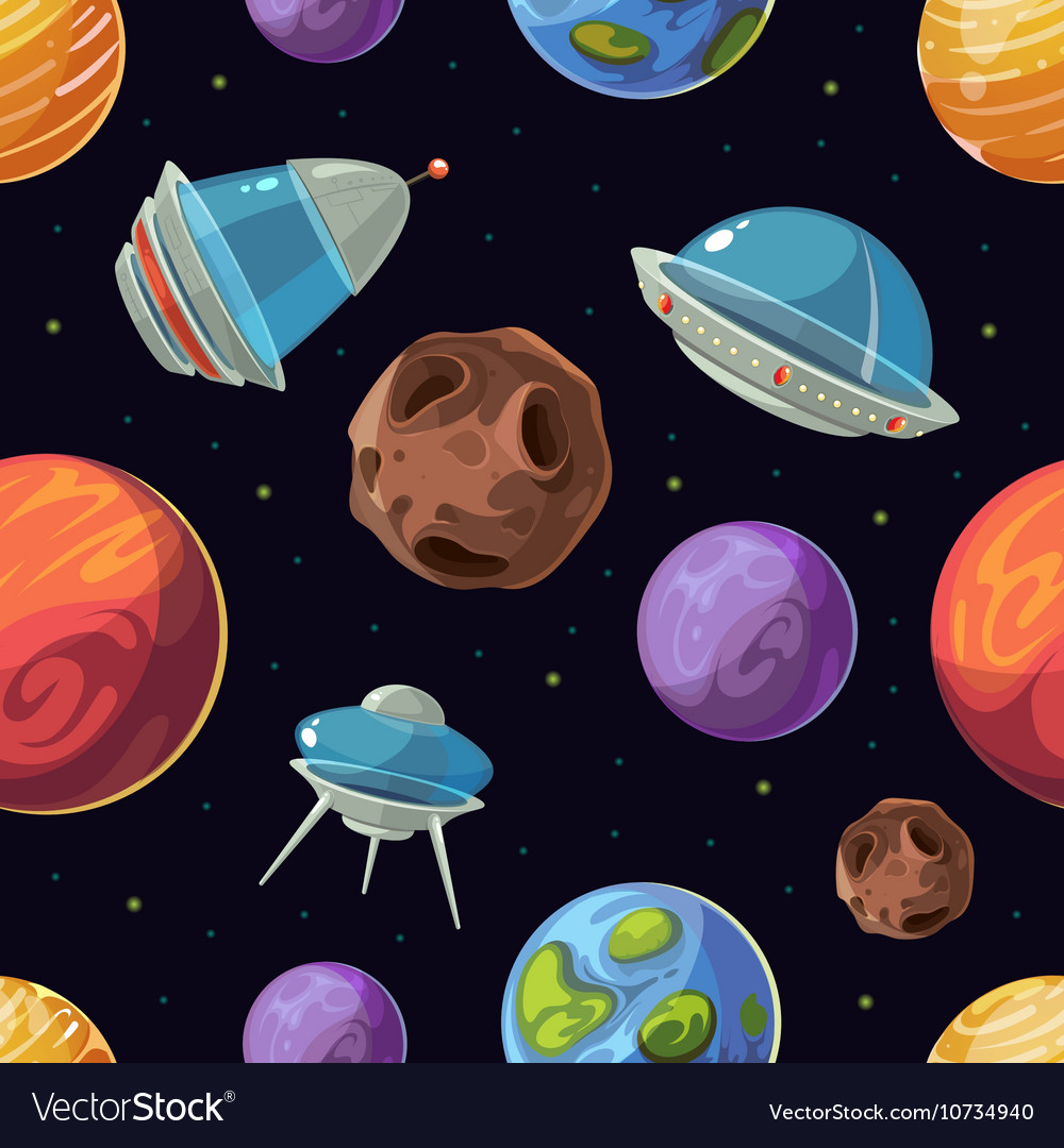 Cartoon space with planets spaceships ufo vector image