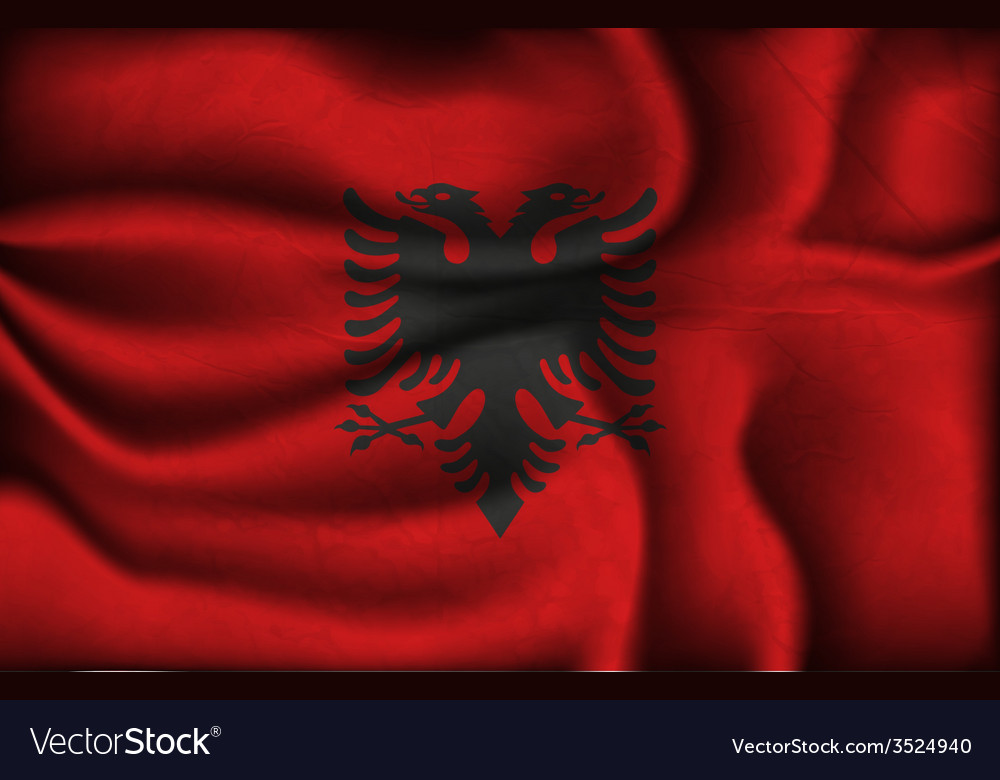 Crumpled flag of Albania vector image