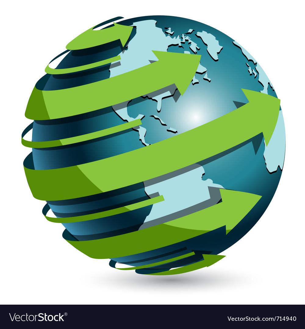 Globe with green arrow vector image