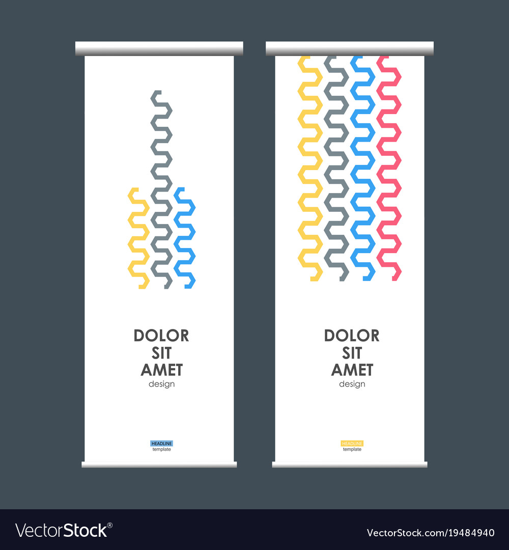 Roll up banner stand with abstract wave vector image