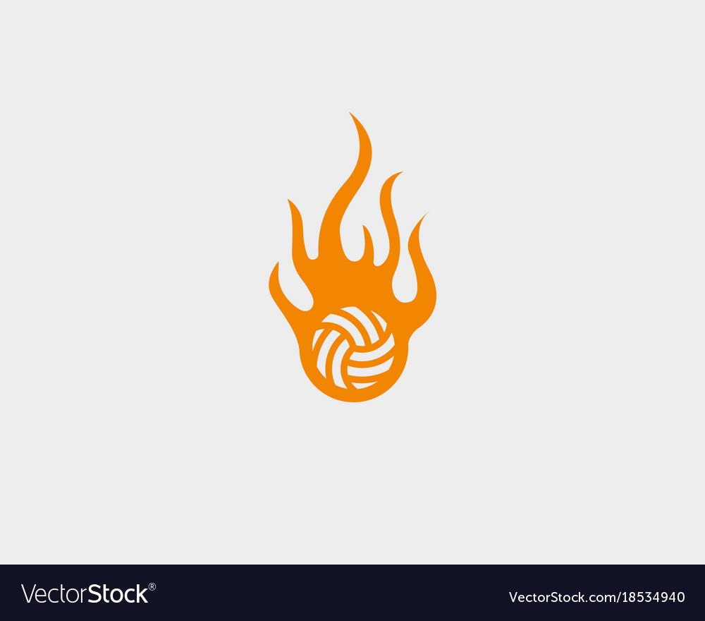 Sport fire ball logo design football soccer vector image