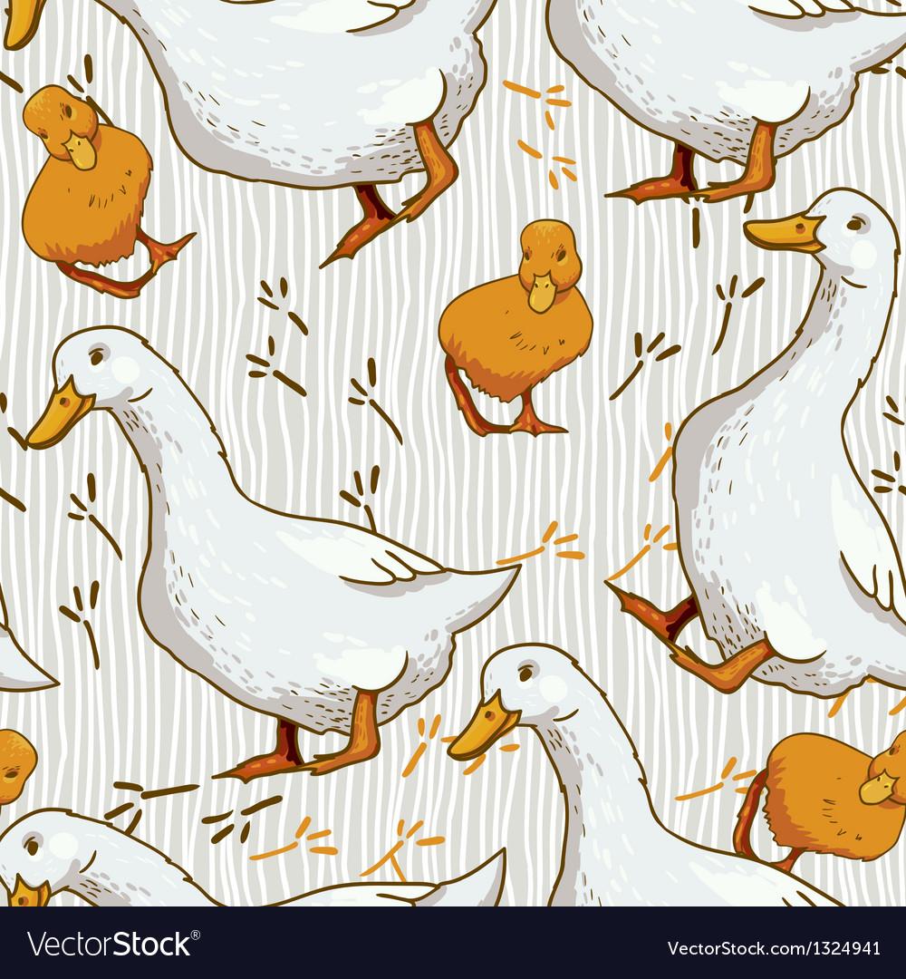 Cartoon Wallpaper with duck vector image