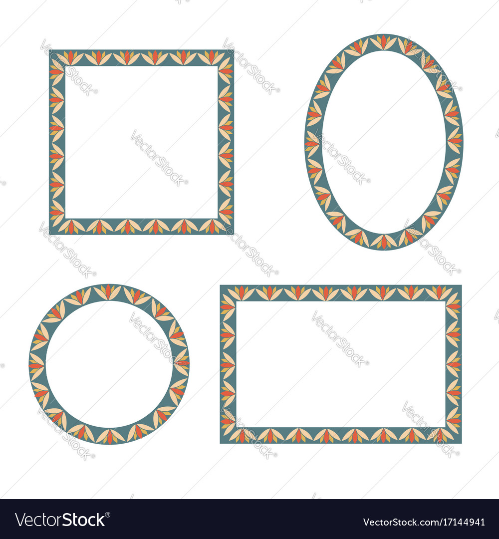 Different shape frames in doodle style retro vector image