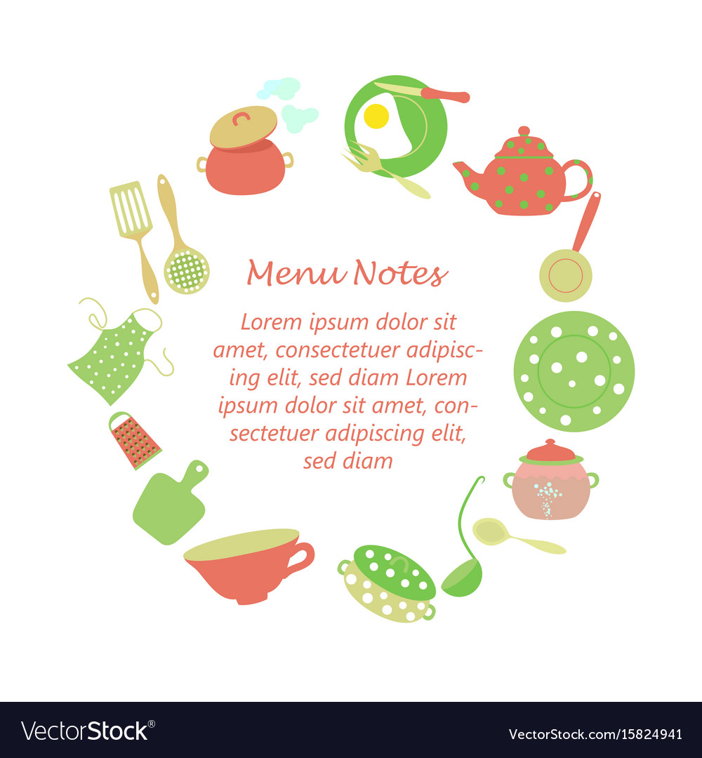 Frame for kitchen household notes Royalty Free Vector Image