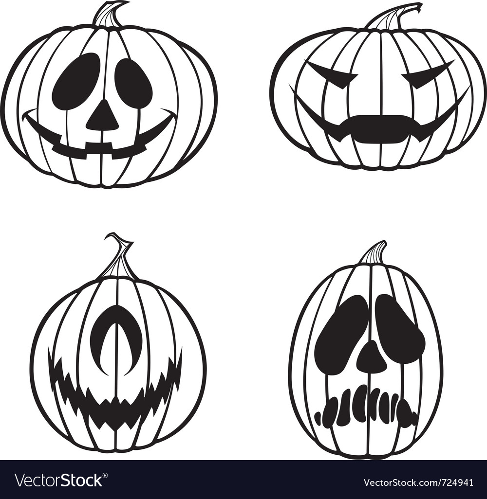jack o lanterns 1 color royalty free vector image