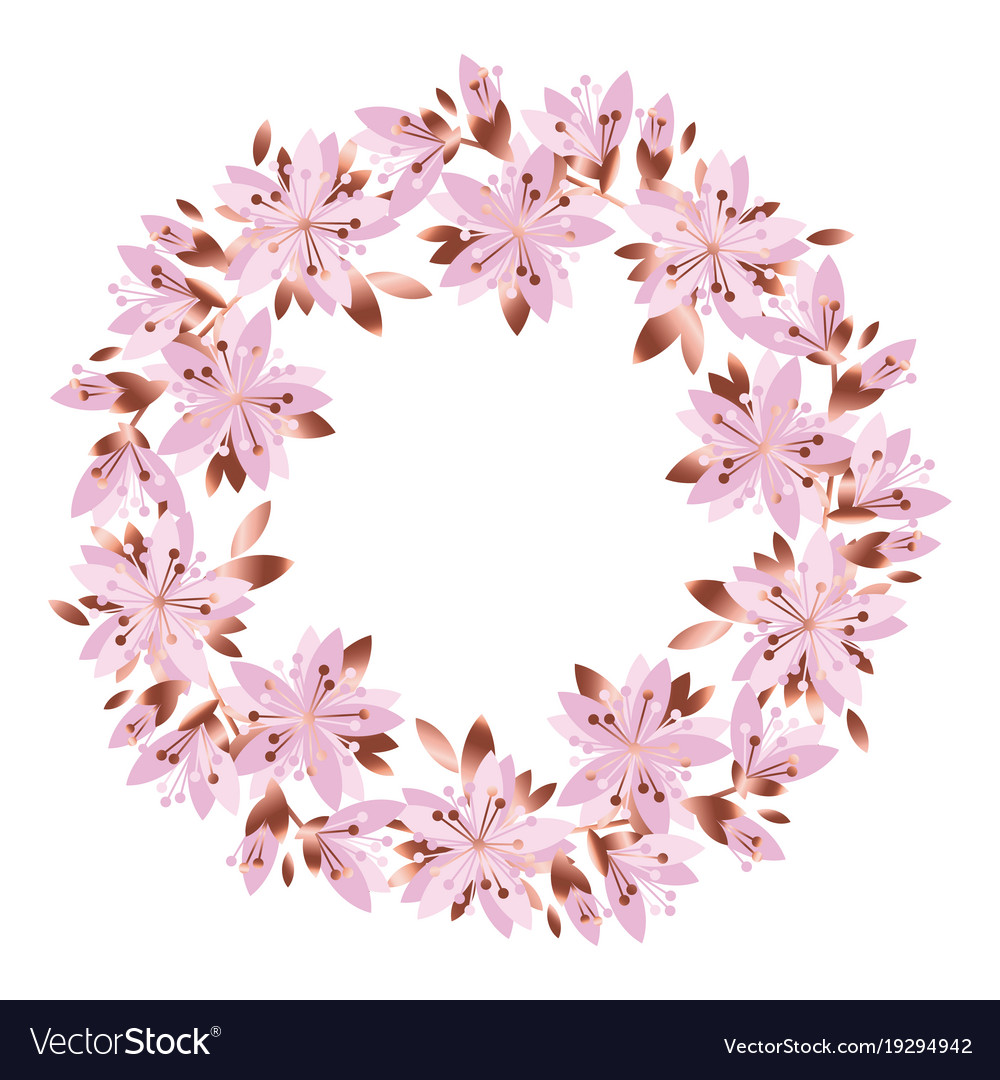 Pale Pink Garden Flowers Wreath Royalty Free Vector Image