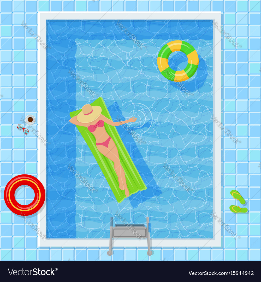 Swimming pool with woman top view vector image