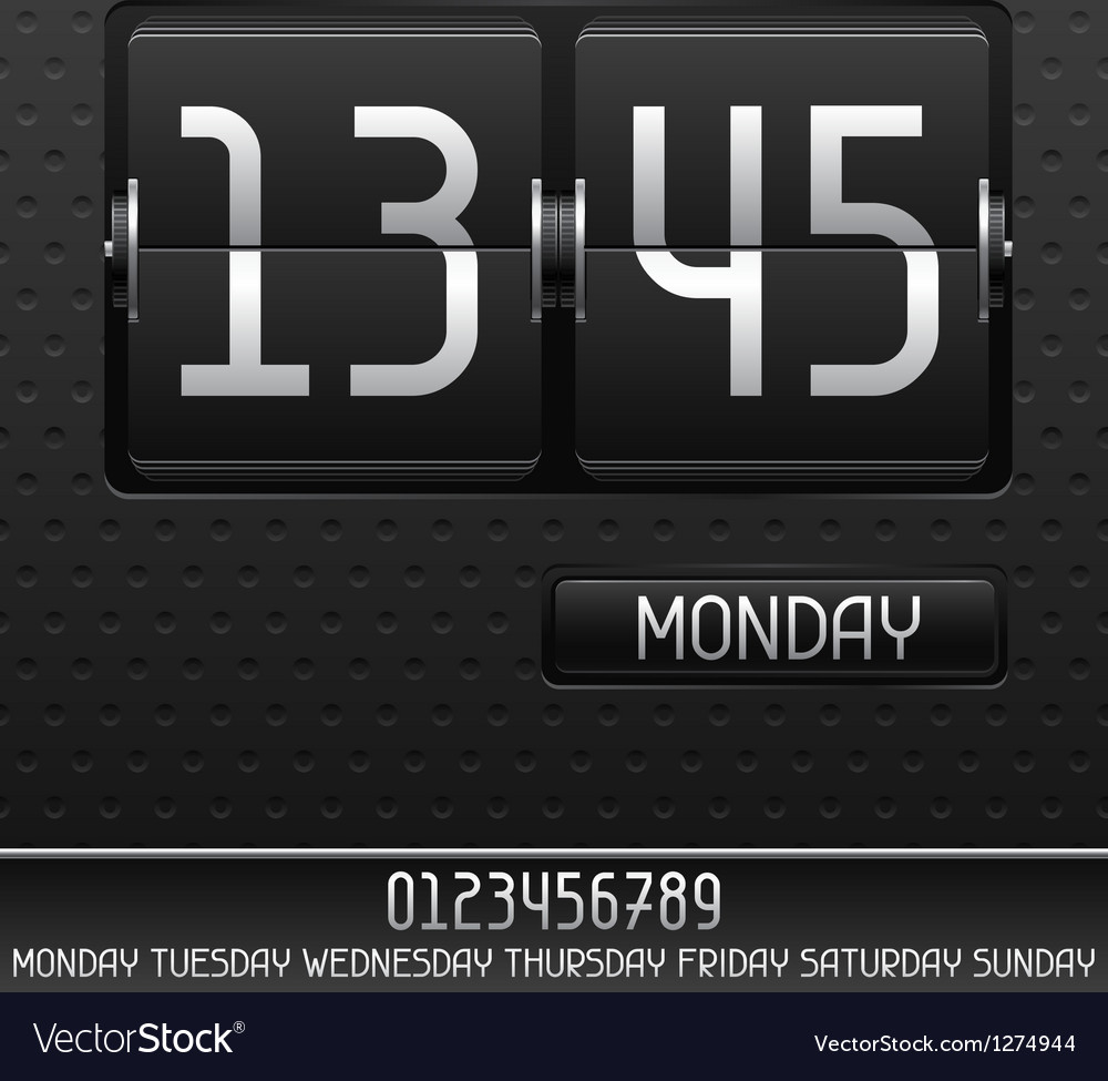 Mechanical flip clock with date Vector Image