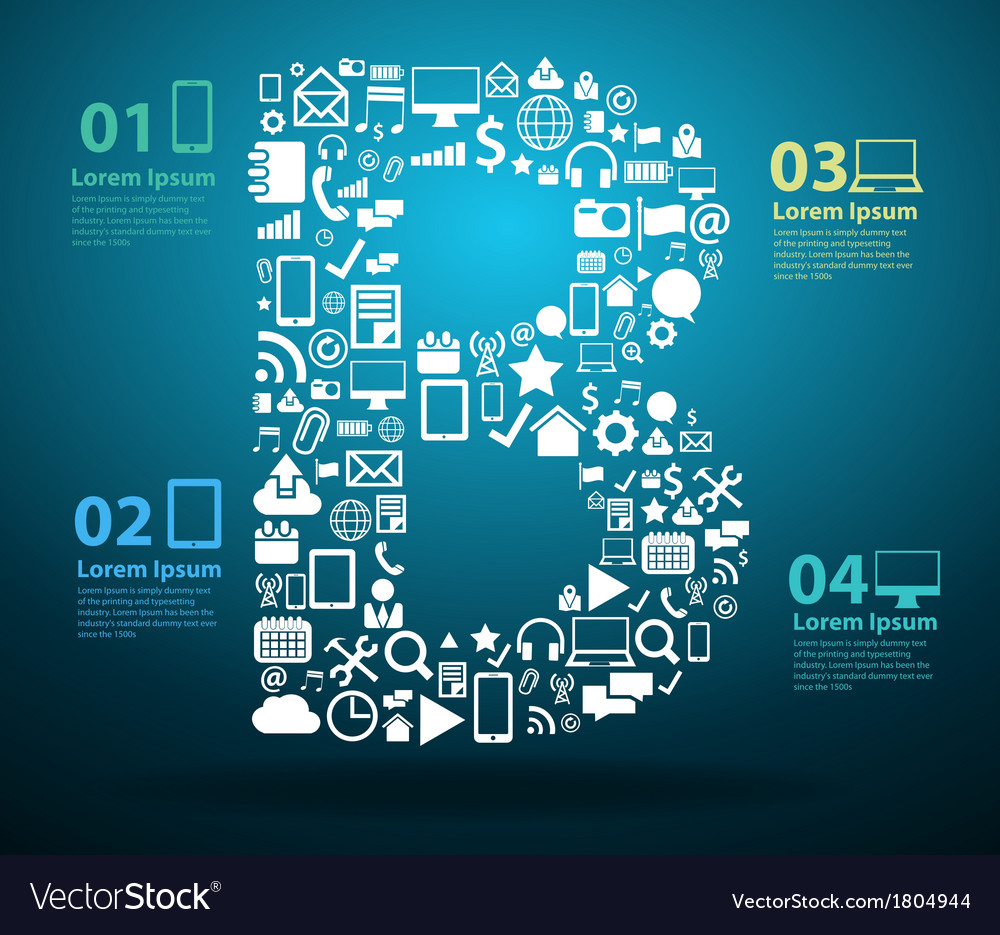 Application icons alphabet letters B vector image