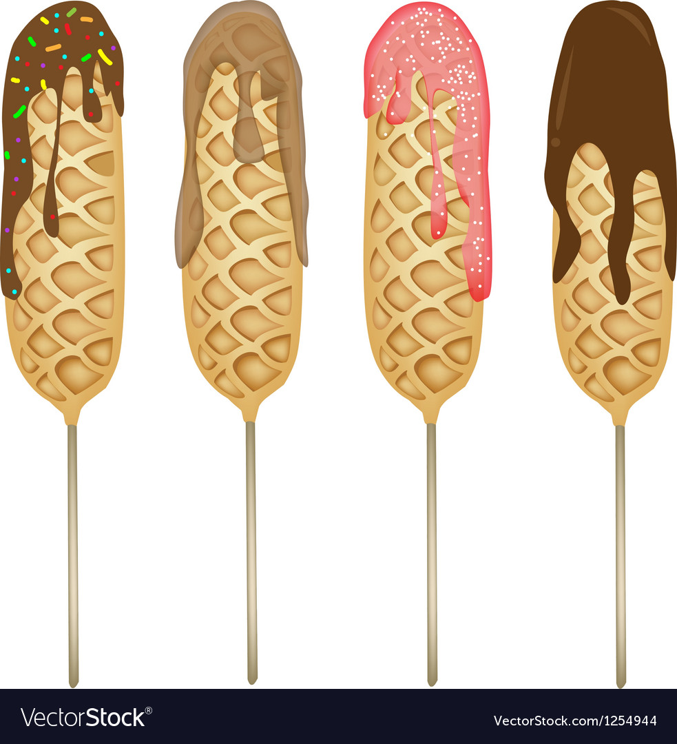 Corn Dogs or Hot Dog Waffles in Various Taste vector image