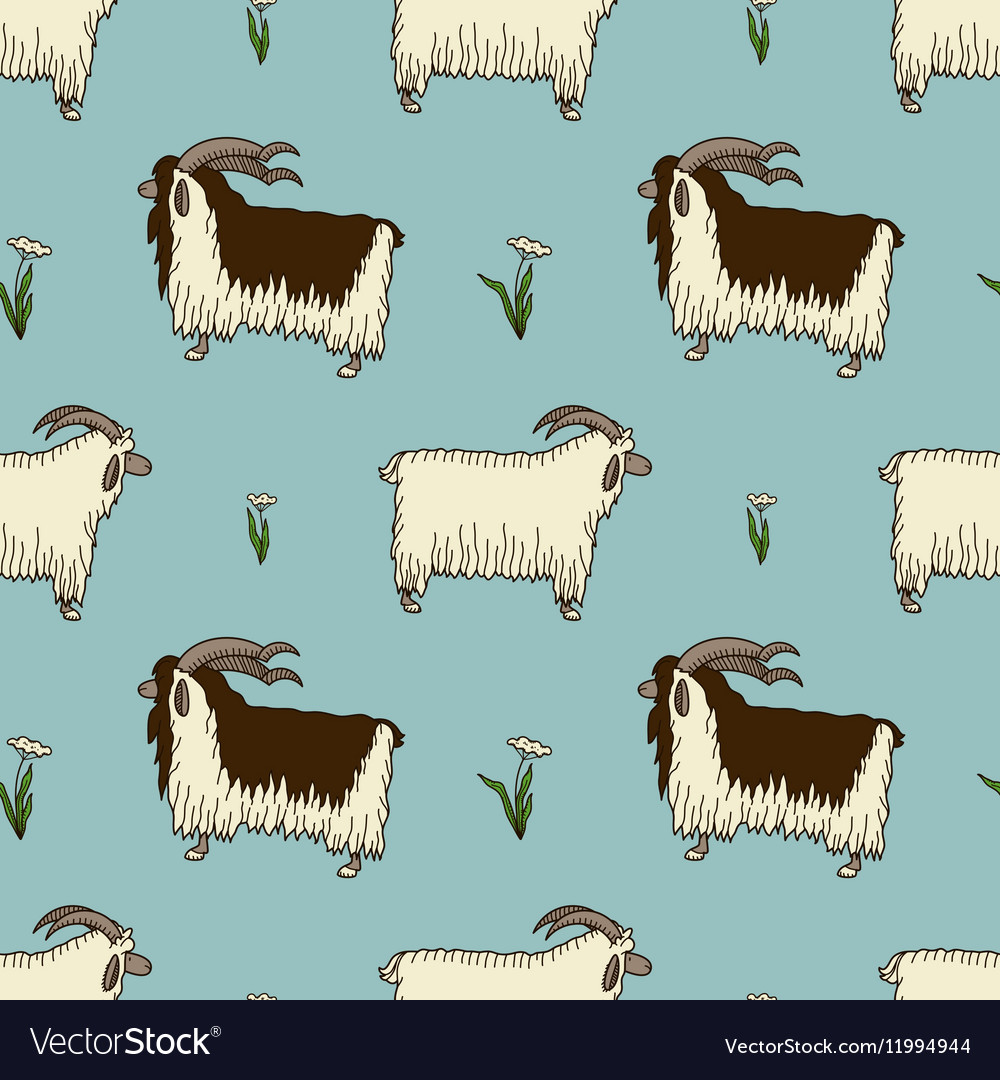 Pattern with two cute goats and milfoil vector image