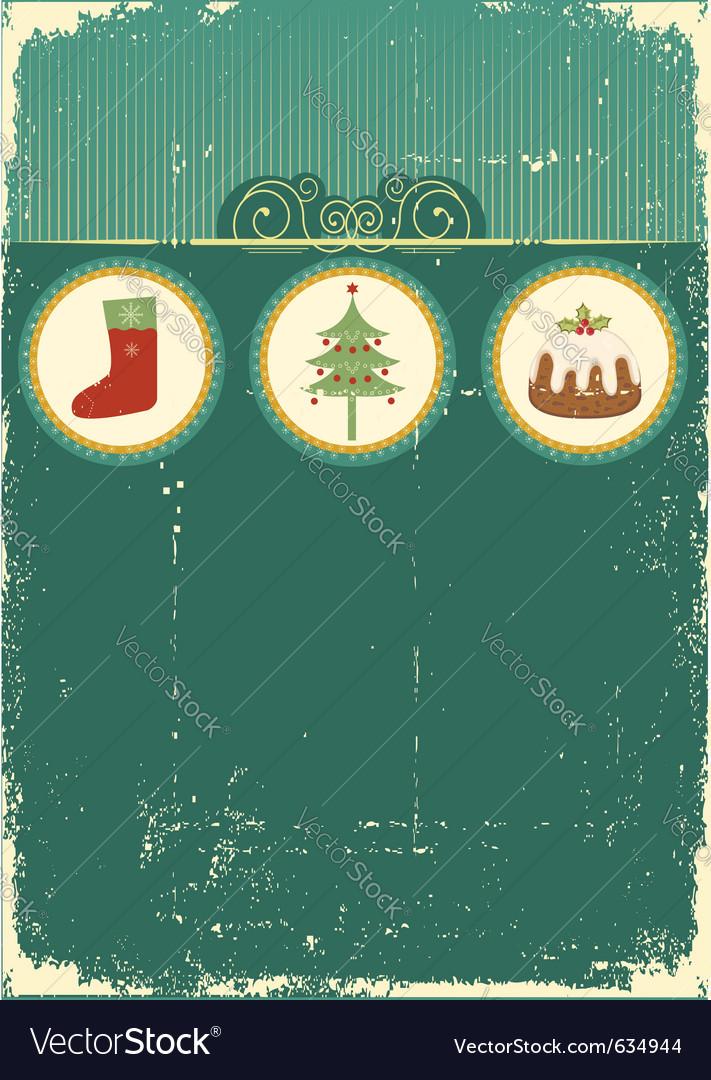 Vintage christmas card vector image