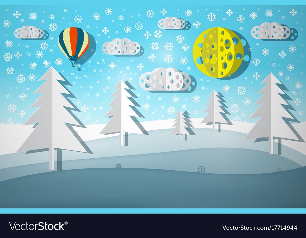 Winter landscape paper cut nature scene vector image