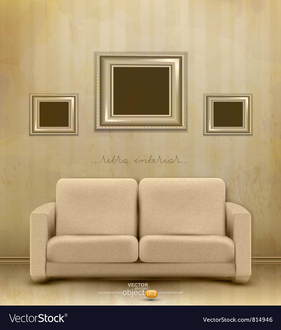 Vintage retro interior vector image