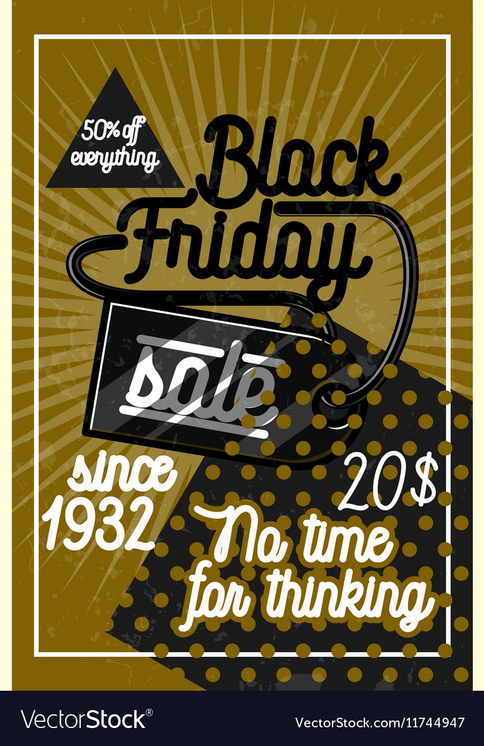 Color vintage black friday sale poster vector image