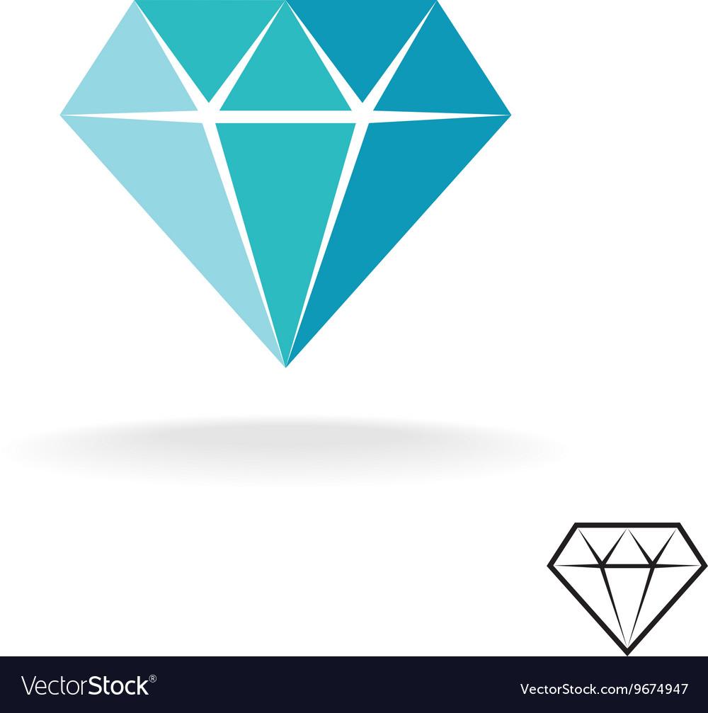 Diamond logo Blue diamond symbol Jewellery shop vector image