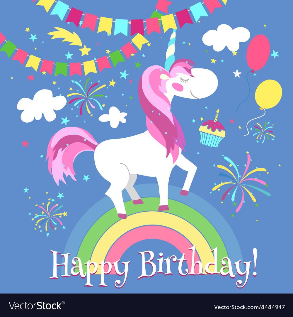 Happy birthday card with cute unicorn Royalty Free Vector – Cute Happy Birthday Cards