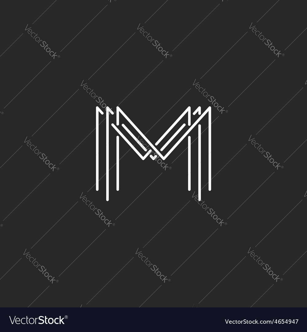 monogram logo lettering letter m design business vector image. Black Bedroom Furniture Sets. Home Design Ideas