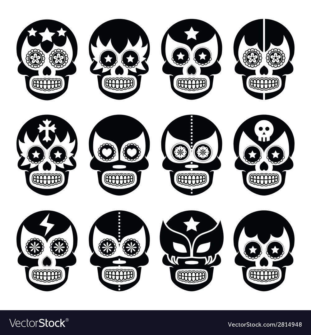 Lucha Libre - Mexican sugar skull masks black icon vector image